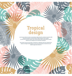 tropical round shape frame in pastel colors vector image