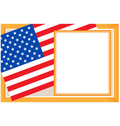 us flag gold frame card vector image