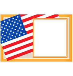 Us flag gold frame card vector