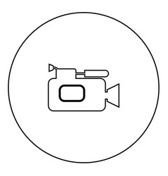 videocamera icon black color in circle vector image