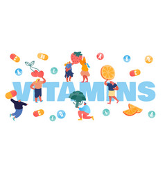 vitamins in food concept tiny people characters vector image