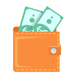 wallet with banknotes green papers dollars vector image