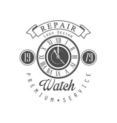 Watch repair logo design premium service since vector