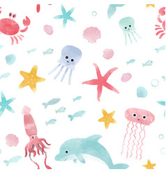 watercolor sea life pattern vector image