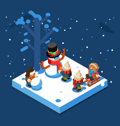 winter games isometric kids making snowman vector image