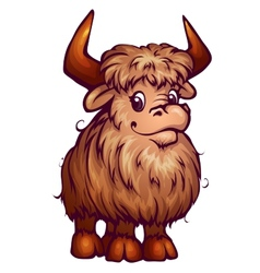 Yak in cartoon style vector