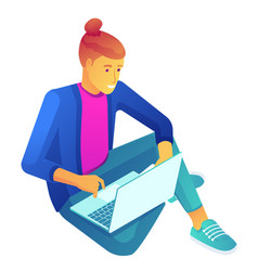 young businessman sitting cross-legged with laptop vector image