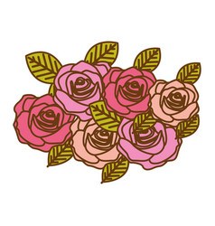 colorful realistic roses bouquet decorative design vector image vector image