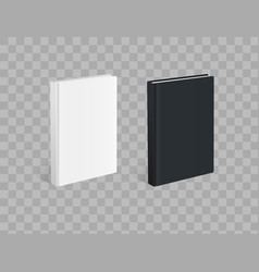 Realistic black and white books on the checkered vector