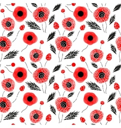 Abstract seamless pattern with a poppies vector image vector image