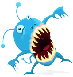 little blue monster vector image vector image