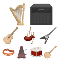 Musical instruments set icons in cartoon style vector