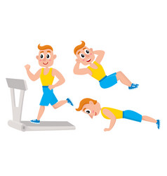 Young man doing sport exercises training push vector