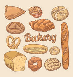 bakery hand drawn doodle with different bread vector image