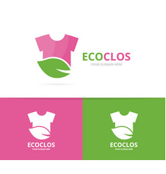 cloth and leaf logo combination shirt vector image vector image
