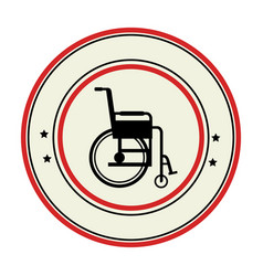 color circular emblem with wheelchair vector image