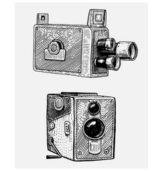 photo movie or film camera vintage engraved hand vector image vector image