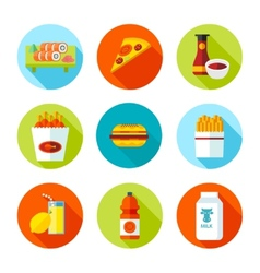 Set of flat grocery and food icons vector image