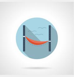 beach hammock flat round icon vector image