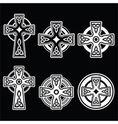 Irish Scottish Celtic white cross on black vector image