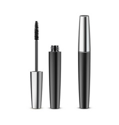 opened closed black mascara in metallic tube vector image