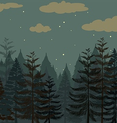 Pine forest at night time vector image vector image