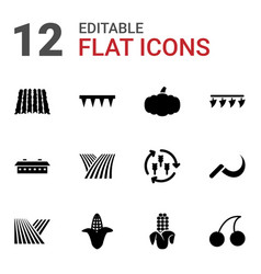 12 harvest icons vector image