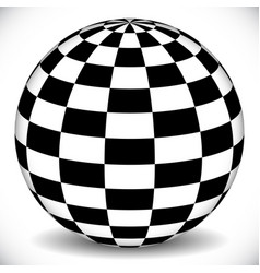 3d sphere with checkered chequered surface on vector