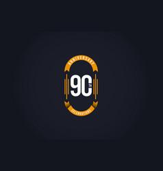 90 th anniversary celebration logo template design vector