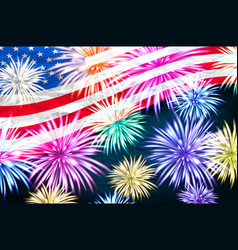aerial fireworks display behind a fluttering usa vector image