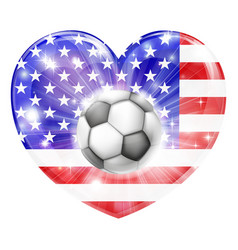 American soccer heart flag vector