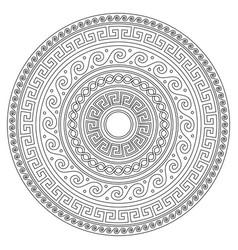 Ancient greek round key mandala stroke pattern vector