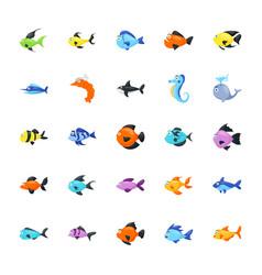 Aquatic animals pack vector