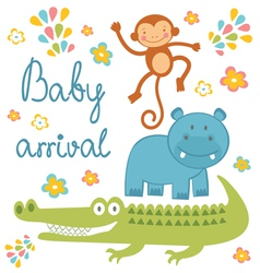 Baby arrival jungle animals vector image