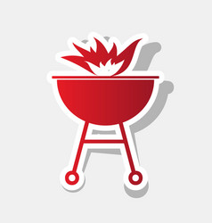 barbecue with fire sign new year reddish vector image
