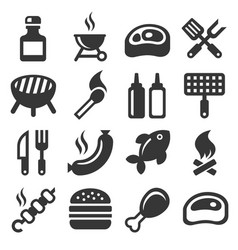 bbq and grilling icons set vector image