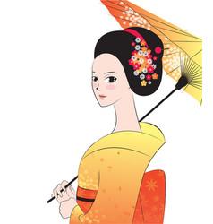 Beautyful japanese woman wear kimono vector