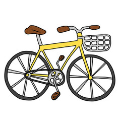Bicycle with a basket summer bike ride vector