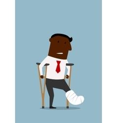 Black businessman with broken leg vector