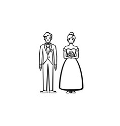 bride and groom hand drawn sketch icon vector image