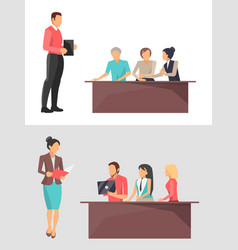 businesstraining set of poster vector image