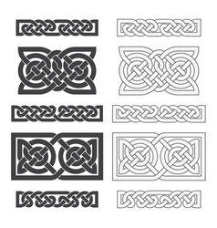 Celtic horizontal knot ethnic ornament vector
