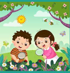 Children observing nature vector