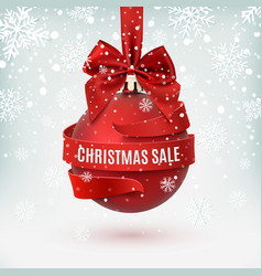 Christmas sale decoration with red bow and ribbon vector