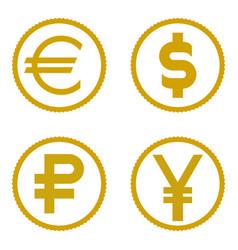 coin icon set euro dollar ruble yen vector image