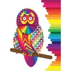 Colorful rainbow owl vector
