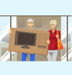 Couple buying tv vector