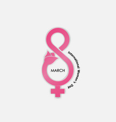 Creative 8 march logo with international women day vector