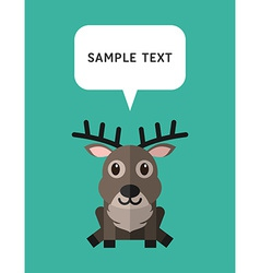 Cute Deer In Flat Design Style With Speach Bubble vector