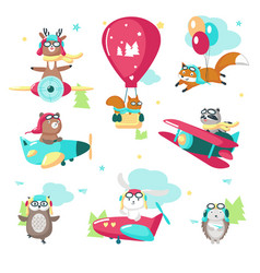 cute funny pilot animals isolated vector image